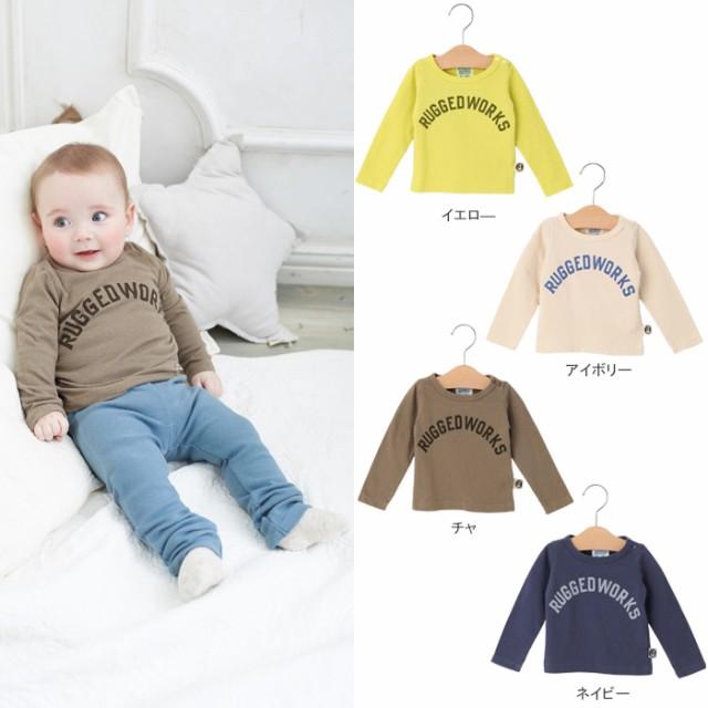 556545c30852f ベビー  日本製 (RUGGED WORKS)ロゴロングTシャツ ベビー 赤ちゃん ...