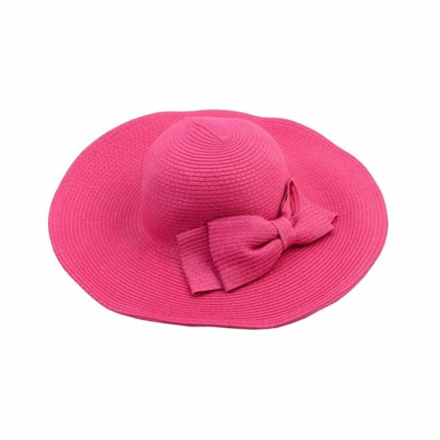 大きめリボン付きがアクセントに つば広 帽子 レディース 折りたたみ 麦わら帽子 UV 折りたたみ帽子 つば広 ハット 紫外線対策 UVハ