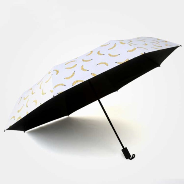 日傘 バナナ柄 折りたたみ日傘 8本骨 ひんやり傘 日傘 遮熱 遮光 雨傘 紫外線対策 晴雨兼用傘 折りたたみ傘 晴雨兼用 3段 折りたたみ 軽