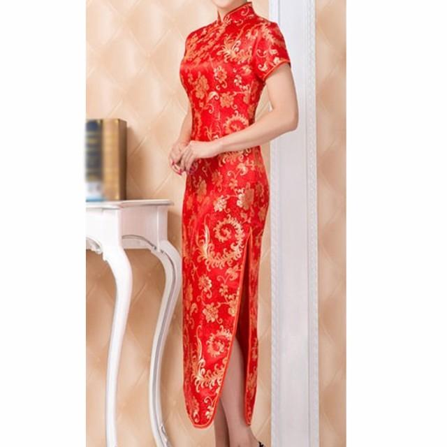 チャイナドレス チャイナワンピース 旗袍 レディース 半袖 長袖 ロング丈 刺繍 セクシー サイドスリット エレガント 華やか