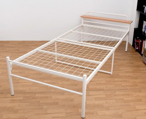 仮設ベッド シングルサイズ 寝具 棚付きベッド - aimcube画像2