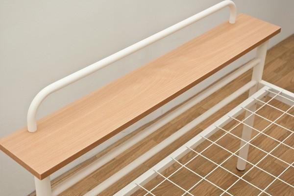 宮棚付 パイプベッド 1人用 シングルベッド 簡易ベッド - エイムキューブ画像3