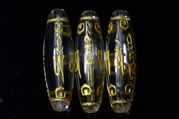 【彫刻ビーズ】水晶 (金彫り) 六字真言(線彫り) 「太鼓型」 4cm|【穴あり一粒売りビーズ】|メール便OK|天然石 幸運 風水 パワーストーン