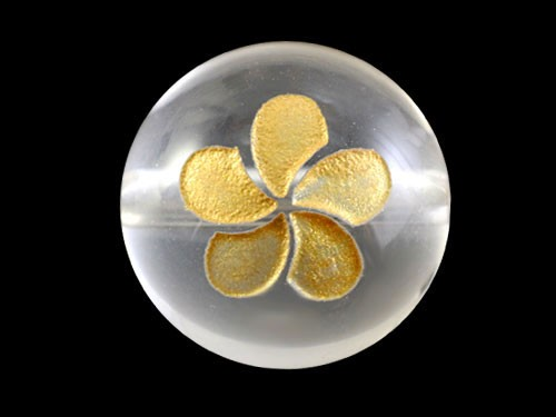プルメリア・水晶・彫刻ビーズ(金入り) 水晶 12mm玉|手作りにオススメ! 天然石|幸運|パワーストーン|