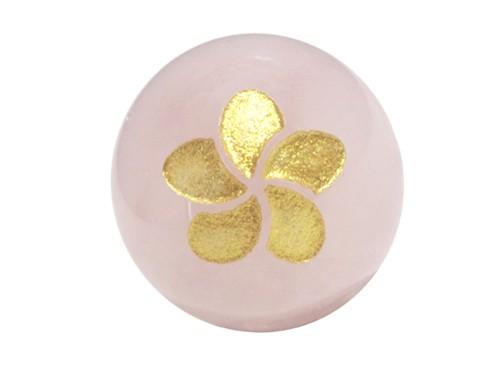 プルメリア・ローズクォーツ・彫刻ビーズ(金入り) 12mm玉|手作りにオススメ! 天然石|幸運|パワーストーン|