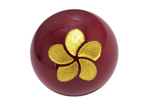 プルメリア・赤メノウ・彫刻ビーズ(金入り) 12mm玉|手作りにオススメ