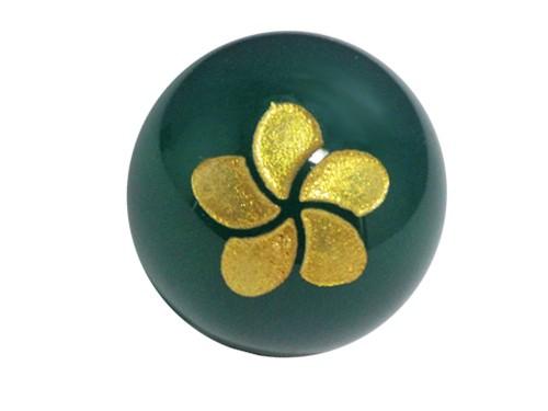 プルメリア・緑メノウ・彫刻ビーズ(金入り) 12mm玉|手作りにオススメ! 天然石|幸運|パワーストーン|