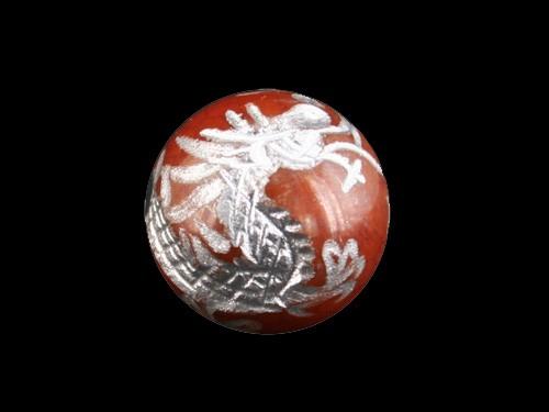 龍 龍紋メノウ手彫り玉・銀色入り|【彫刻 一粒売りビーズ】|メール便OK|天然石|幸運|パワーストーン|