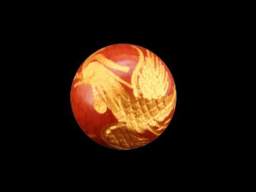 鳳凰 龍紋メノウ手彫り玉・金色入り【彫刻 一粒売りビーズ】|メール便OK|天然石|幸運|パワーストーン|
