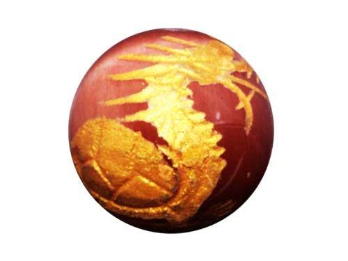 龍亀 オレンジタイガーアイ (金色入り)彫刻ビーズ 【穴あり一粒売りビーズ】 メール便OK 天然石 パワーストーン