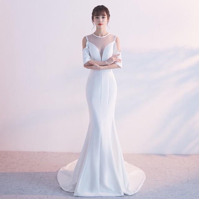 オルチャン パーティドレス ドレス セクシー マーメイドライン シースルー ゴージャス 結婚式 お呼ばれ 2次会|au Wowma!(ワウマ)