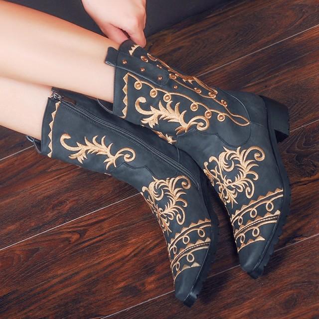 シューズ 秋シューズ エスニック 手作り中國靴チャイナ北京靴チャイナシューズ 森ガール マーティンブーツ ショートブーツ中華刺繍