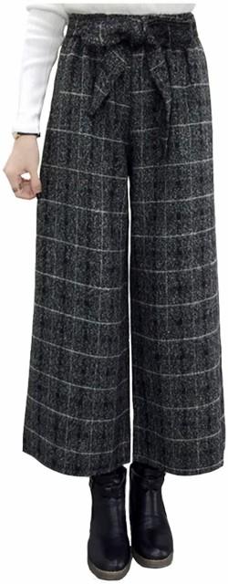 ウール ワイド リボン ガウチョ パンツ 綺麗め 通勤 美シルエット ベルトリボン付き オフィス(チェック, XL)