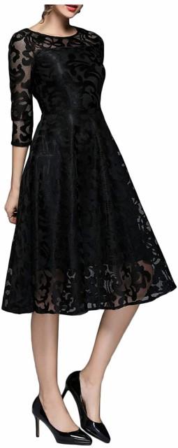 ドレス ワンピース 結婚式 黒 パーティードレス aライン 切り替え 7分袖 上品 膝丈 冬 秋冬 春(ブラック, L)