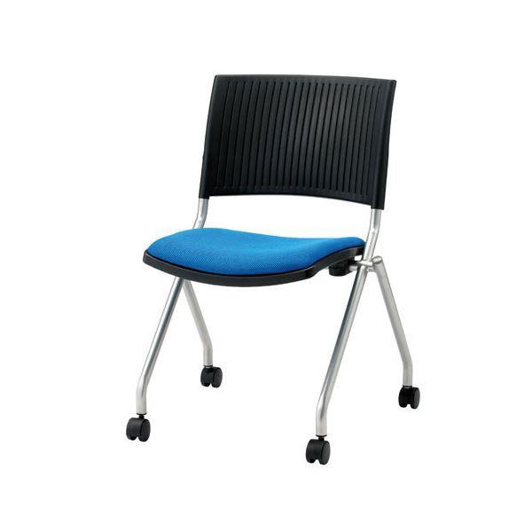 送料無料 ジョインテックス 会議椅子(スタッキングチェア/ミーティングチェア) 肘なし キャスター付き FJC-K5 ブルー 【完成品】 生活用