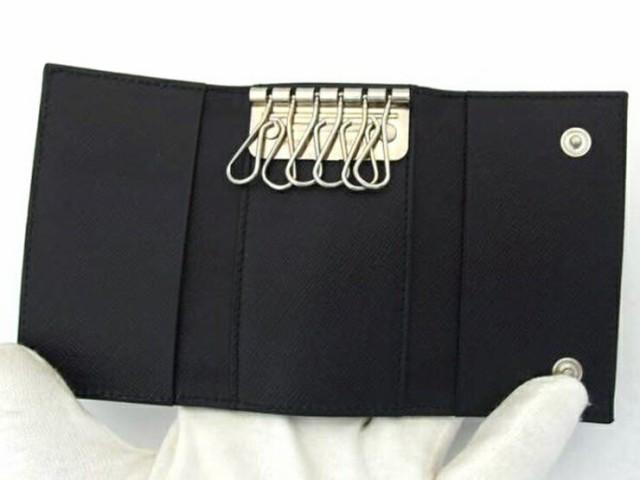 【中古】超美品 PRADA プラダ 6連 キーケース M222 ナイロン ネイビー 男女兼用可 ファッション 小物【本物保証】