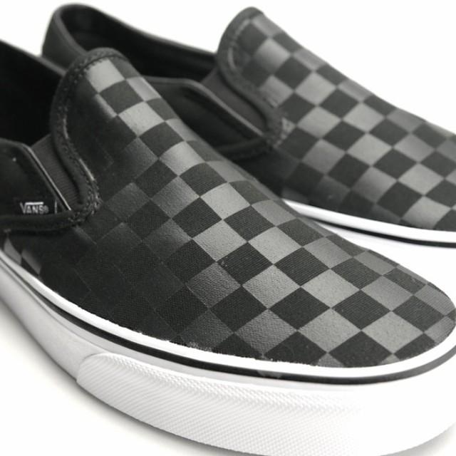 バンズ VANS スリッポン スニーカー メンズ レディース チェッカーボード キャンバスシューズ 靴 黒 ブラック (CHECKERBOARD)