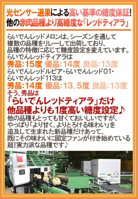 """【送料無料】北海道 赤肉メロン """"らいでんレッドティアラメロン"""" 秀品 4~5玉 約8kg 産地箱【予約 7月下旬以降】"""