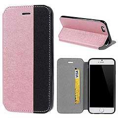 iPhone6s ケース 4.7 inch 手帳型/横開き 二色テクスチャ レザーケースカバー カードスロット付/スタンド機能付き ピンク/ブラック