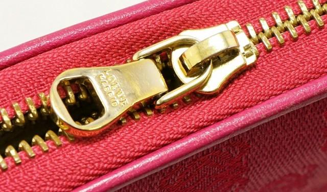 【財布】 ロエベ アナグラム ラウンドファスナー 長財布 キャンバス レザー ピンク 121.80.C19