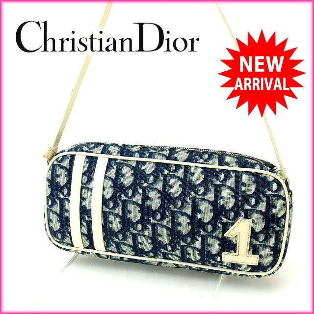 クリスチャン・ディオール Christian Dior ショルダーバッグ 化粧ポーチ レディース トロッター人気 激安【中古】 Y1220