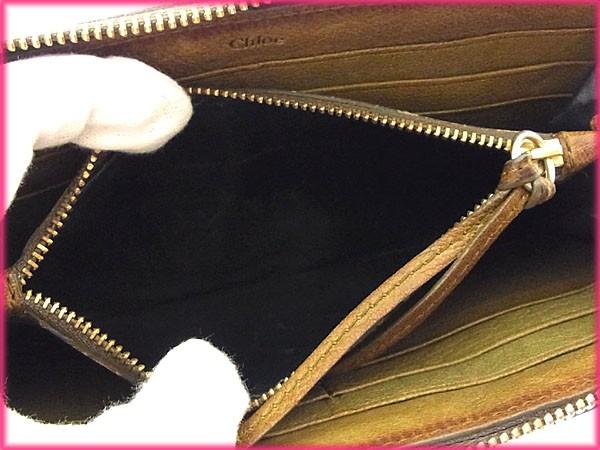 クロエ Chloe 長財布 ラウンドファスナー メンズ可 ロゴプレート激安 セール【中古】 Y2624