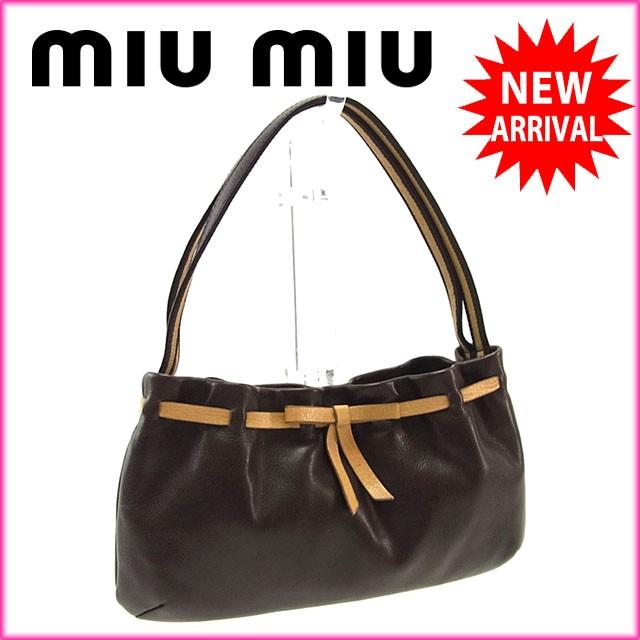 ミュウミュウ miumiu ハンドバッグ ミニサイズ レディース リボンモチーフ良品 セール【中古】 Y2846