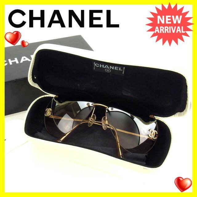 シャネル CHANEL サングラス メガネ メンズ可 ラインストーン付き ティアドロップ型 4108-B c.1258Z ココマーク [中古] 美品 セール H294