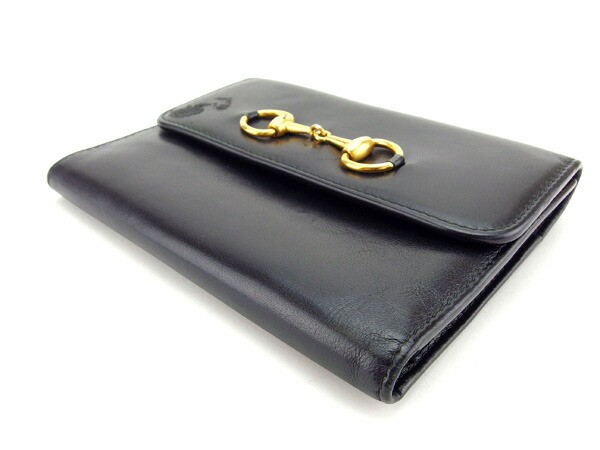 グッチ GUCCI 三つ折り財布 がま口 中長財布 メンズ可 人気セール【中古】 Y3432