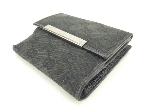 グッチ Gucci Wホック財布 男女兼用 GGキャンバス人気 セール【中古】 Y3740