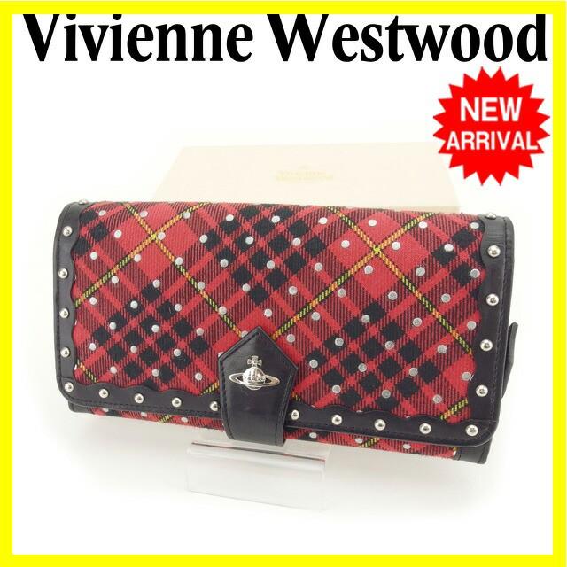 ヴィヴィアンウエストウッド Vivienne Westwood 長財布 ファスナー 二つ折り 男女兼用 オーブ&スタッズ付き 31187501 RD チェック×ドッ