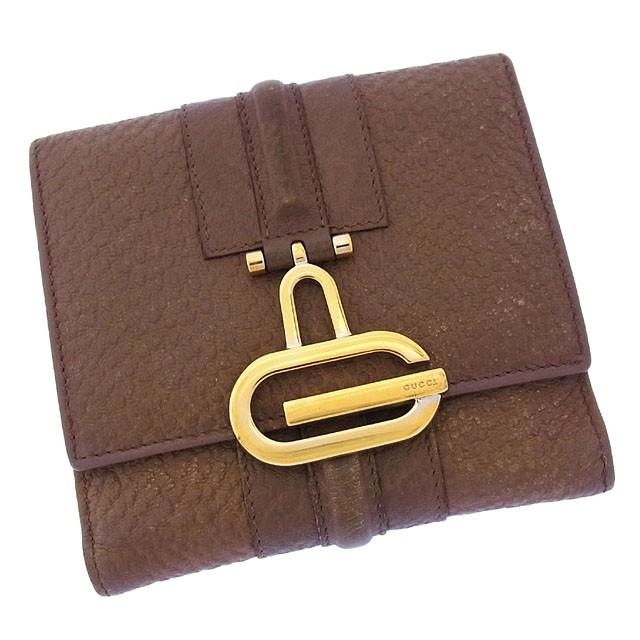グッチ GUCCI Wホック財布 二つ折り メンズ可 Gマーク激安 セール【中古】 Y2125