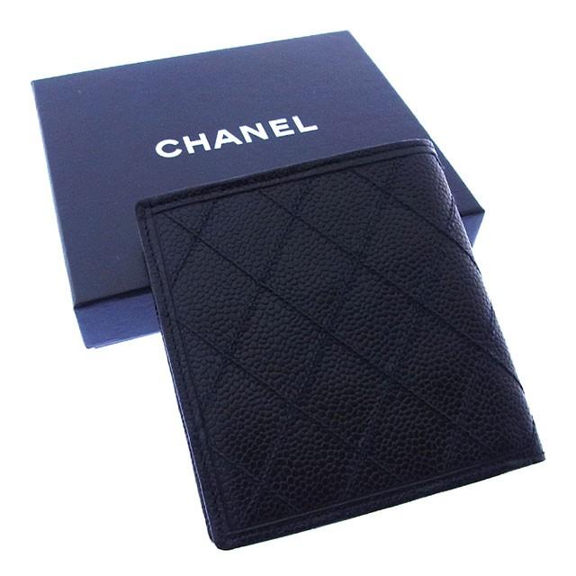 シャネル CHANEL 二つ折り財布 コンパクトサイズ メンズ可 ダブルステッチ奇跡的入荷!【中古】 Y2187