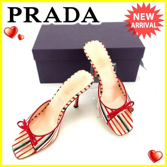 プラダ PRADA ミュール サンダル 36 1/2 レディース 人気 セール【中古】 Y4407