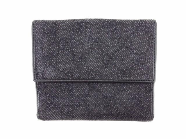 グッチ GUCCI Wホック財布 二つ折り 財布 メンズ可 GGキャンバス人気 良品【中古】 T3355