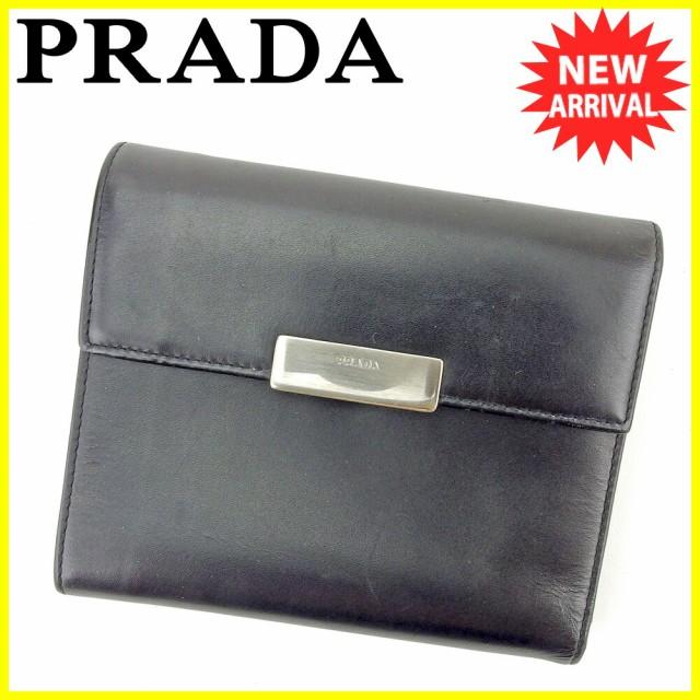 プラダ PRADA 二つ折り 財布 中長財布 レディース メンズ 可 M170 ロゴプレート [中古] 人気 セール T5734