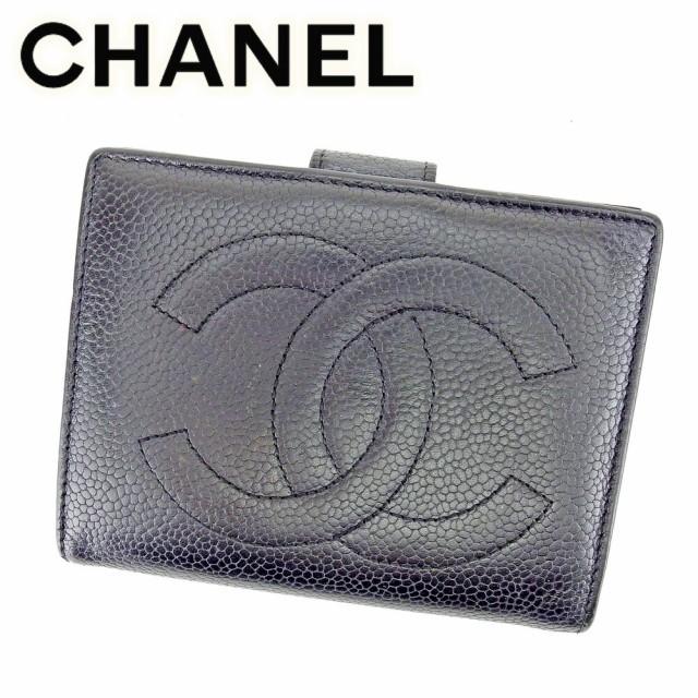 2ecf9ae366db ... ブラック マトラッセ トートバッグ 【中古】. シャネル CHANEL がま口 財布 二つ折り 財布 レディース メンズ 可 キャビアスキン×ココマーク  [