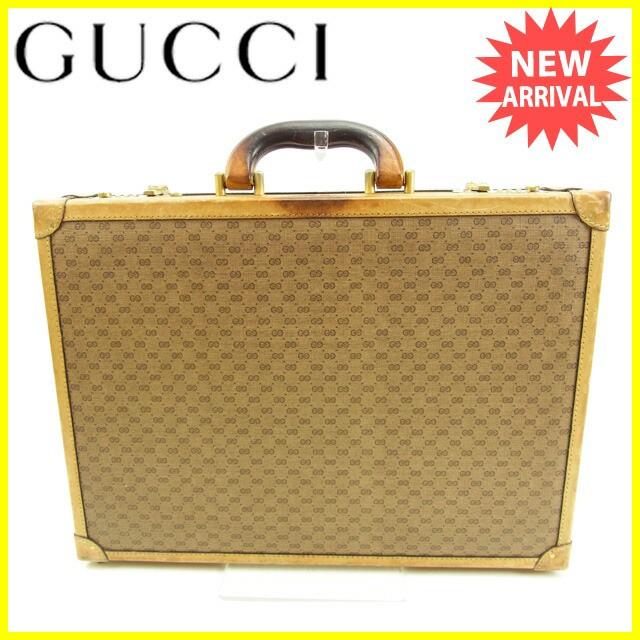 グッチ Gucci トランクケース ビジネスバッグ レディース マイクロGGヴィンテージ レア【中古】 Y5197