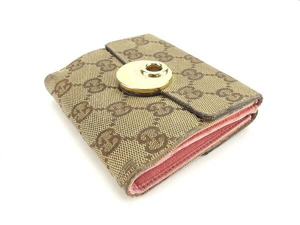 グッチ GUCCI Wホック財布 三つ折り財布 レディース エクリプス GGキャンバス人気 セール【中古】 Y5410