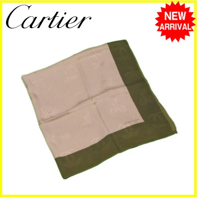 カルティエ Cartier スカーフ 2Cモチーフ レディース メンズ 中古 Y6237