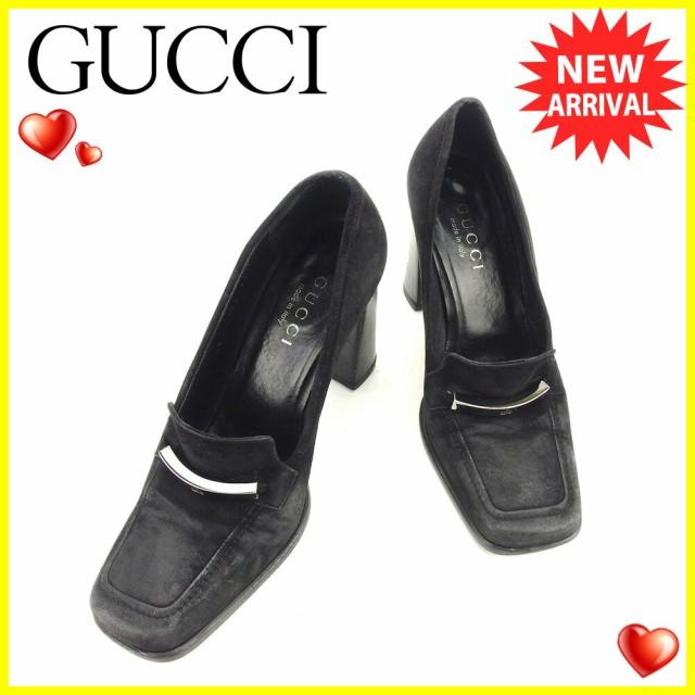 グッチ GUCCI パンプス シューズ 靴 レディース ♯35ハーフC チャンキーヒール ロゴプレート [中古] 人気 セール  T6117の通販はWowma!(ワウマ) , ブランドデポ|商品