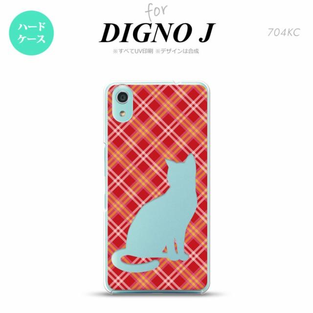 DIGNO J ディグノ ジェイ 704KC 専用 スマホケース カバー ハードケース 猫 チェック赤A