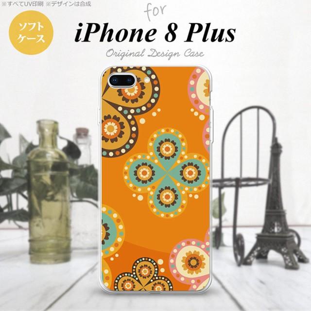 iPhone8Plus スマホケース カバー アイフォン8プラス エスニック花柄 オレンジ nk-ip8p-tp1585