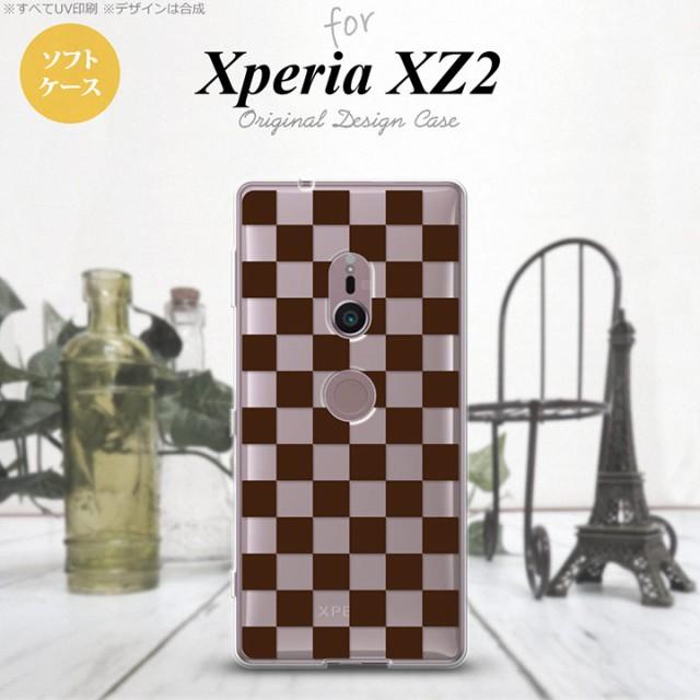 Xperia XZ2 エクスペリア XZ2 SO-03K SOV37 専用 スマホケース カバー ソフトケース スクエア 茶