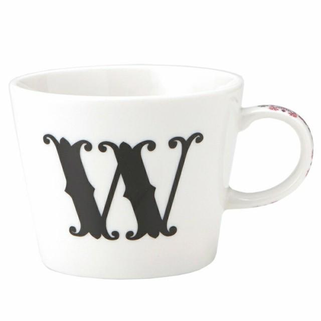 【取寄品】[イニシャル マグカップ&小皿 ギフトセット]アルファベット プレート付マグカップ/W 東欧風ALPHABET MUG