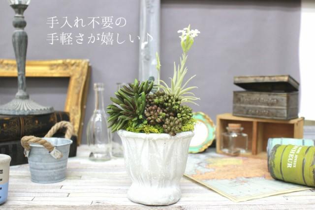 ボタニカルM 枯れない観葉植物 アレンジ 陶器 ブリキ 多肉植物 エアープランツ 造花 アーティフィシャルフラワー