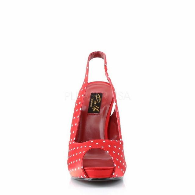 取寄せ靴 送料無料 スリングバック 人気のドット柄 薄厚底サンダル 11.5cmヒール 赤レッドサテン 大きいサイズあり