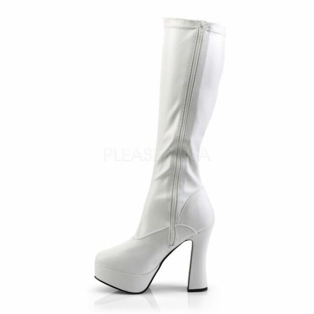 取寄せ靴 送料無料 コスプレ系 ストレッチ厚底ロングブーツ サイドジッパー 12.5cmチャンキーヒール 白ホワイトつや消し 大きいサイズ有