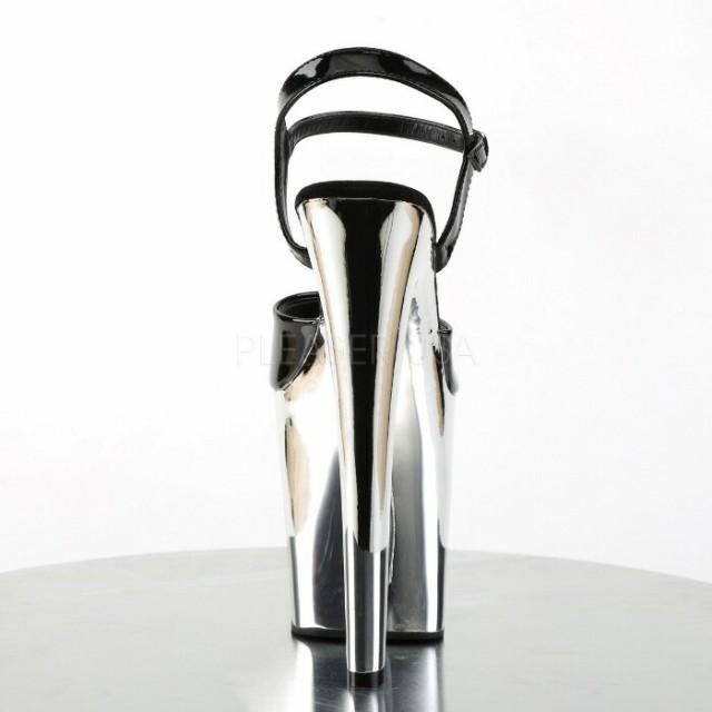 取寄せ靴 送料無料 厚底サンダル アンクルベルト付メタリックストーム 20cmヒール 黒ブラックエナメルシルバークロム キャバ靴