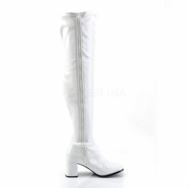 取寄せ靴 送料無料 大人気 薄厚底ニーハイサイハイブーツ 8cmチャンキーヒール 白 ホワイト エナメル 大きいサイズあり